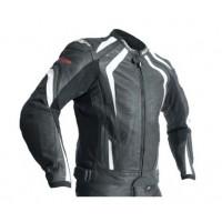 RST R-18 Leather Jacket - Black/White