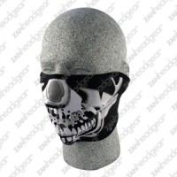 Neoprene 1/2 Face Mask, Chrome Skull